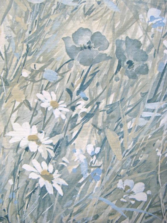 Vintage 80s Sunworthy Vinyl Blue White Field Floral Vine Paper Wallpaper From CasaNero On Etsy Studio