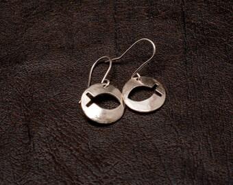 Sterling silver Jesus Fish earrings