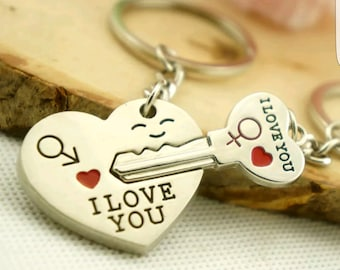 I Love You Couple Heart and Key Key chain (Great Wedding Favor)