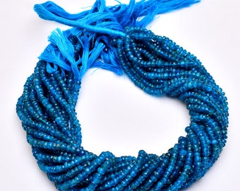 Neon Apatite Rondelle Beads| 4mm to 3mm Faceted Beads |13 inch Strand | Natural Neon Blue Semi Precious Handcut Beads for Jewelry Making.