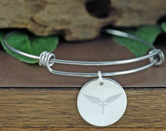 Angel Wing Bracelet, Custom Handwriting Jewelry, Actual Handwriting Bracelet, Engraved Bracelet, Gift for her, Memorial Gift, Loss of Love