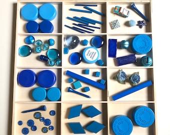 Colors BLUE Waldorf Reggio Emilio Montessori educational loose parts preschool 70 piece set