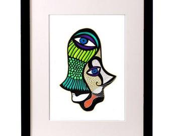 Healing Hand Art, Hamsa Hand Poster, Hamsa Decor, Hamsa Wall Art, Hand of Fatima, Hand of Miriam, Abstract Art, Modern Judaica Art, Ink Art
