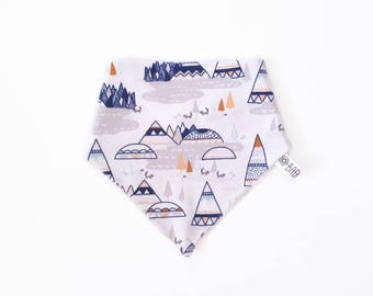 Teething baby 100% cotton organic foxes and mountain triangle bandana bib