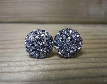 Gunmetal Sparkle Druzy Earrings - 12mm on Stainless Steel Posts.