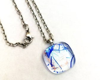 small fused glass and Dichroic pendant necklace, blue and silver chain, clasp and 18 inch stainless steel rings.