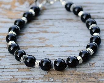 Black onyx bracelet, Beaded onyx bracelet, Genuine onyx bracelet, Black onyx gift, Black onyx jewelry, Onyx jewelry, Buy one get one free.