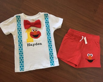 Elmo Personalized Embroidered First birthday, Boys birthday outfit, Baby boy first birthday, Elmo party