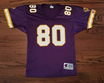 Vintage 90s Champion Youth Football Jersey - Hall of Fame Wide Receiver Cris Carter #80 - Youth Medium 10-12 - Home Purple