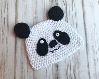 Panda Hat Sizes 6 months to Adult, Beanie, Photo Prop, Toddler Hat, Christmas gift, Black and white hat, Adult Panda Hat, Crochet Hat