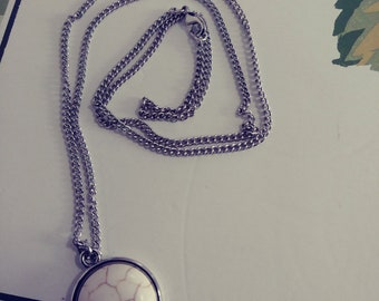White marble stone necklace