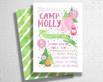 Camping Birthday Invitation | Girl's Camp Birthday Invitation | Camp Birthday Invite | Happy Camper | Outdoors Birthday | DIGITAL FILE ONLY