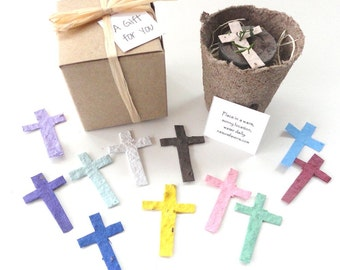 25 Flower Seed Cross Party Favors, First Communion, Baptism, Christening, Plantable Seeded Crosses by Nature Favors
