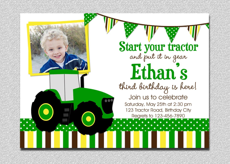 Tractor Birthday Invitation Tractor Birthday Party