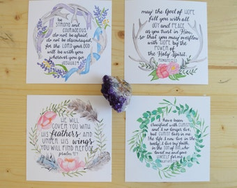 Boho Scripture Cards- Boho Inspired Bible Verse Card Set- Watercolor Boho Cards- Set of 4 Cards