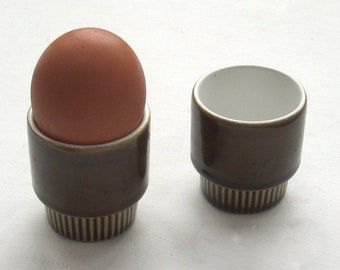 Stylish vintage pair of brown Poole pottery eggcups, circa 1960's.