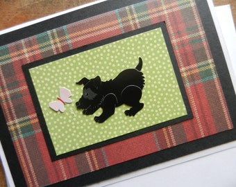 Scotty Card - Black Scottish Terrier dog Red Plaid Handmade Greeting Card with pink butterfly - blank any occasion
