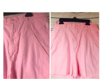 80's high waisted pink cotton shorts - vintage pink shorts 80's- vintage 90's high waist shorts size 6
