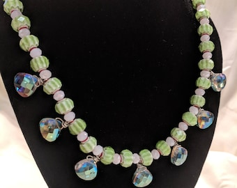 """11"""" Green & White Striped Necklace with Iridescent Drops"""