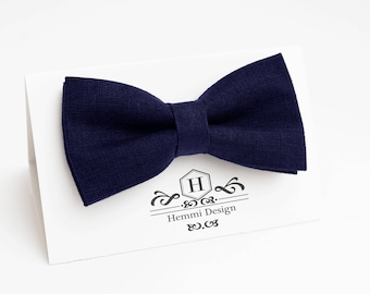 Dark Blue linen Bow Tie for wedding / bow tie for boy / bow tie for baby / bow tie for men