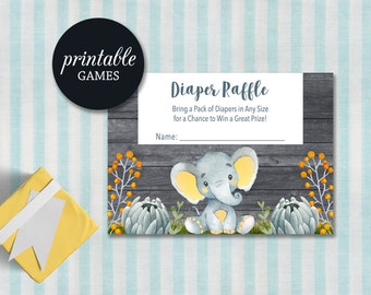 Printable Diaper Raffle Card, Elephant Baby Shower Games, Elephant Diaper Raffle Insert, Boy Baby Shower Games, Safari Baby shower games