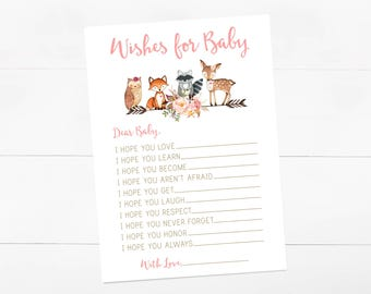 Wishes For Baby, Woodland girl, Digital Wishes for Baby, Baby Shower Printable, Instant Download