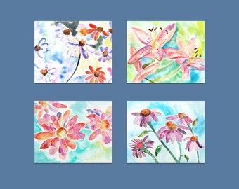 Flower Print Set of 4, Girl's Bedroom Decor,  Watercolor Flower Prints, Office Wall Art, watercolor flower paintings, bedroom wall art