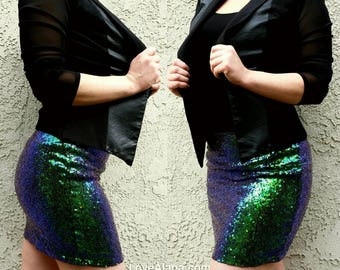 Iridescent Sequin Skirt - Stretchy, beautiful teal and blue mini. Ships asap! Very few left.