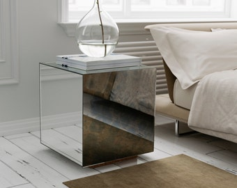 Antiqued Mirrored Glass Side Table MidCentury Modern Side - Mirrored cube end table