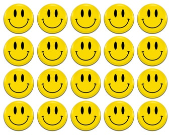20x Smiley Face Yellow 25mm / 1 Inch D Pin Button Badges