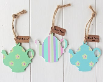 Sweet Hand Painted Hanging Wooden Teapots For Home Decor Kitchen