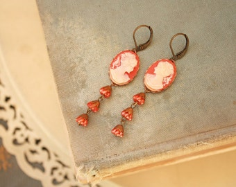 Moroccan Red Flowers Dangling from Carnelian Girl Cameo Earrings