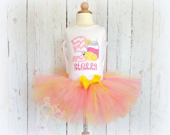 Lemonade birthday outfit - pink lemonade birthday outfit - lemonade tutu outfit - lemonade themed - embroidered birthday outfit