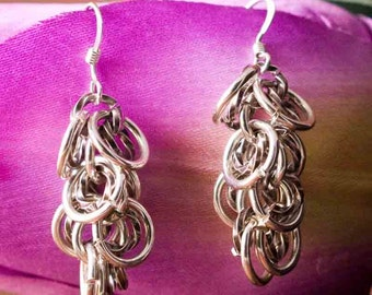 Earring Chainmaille Sterling Silver Dangle Fringe