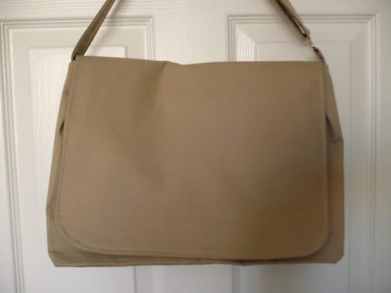 Solid Beige Messenger Diaper Bag
