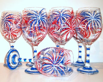 July 4th Fireworks Hand Painted Wine Glasses July Fourth Bridesmaids Bachelorette Patriotic Summer Wedding Red White & Blue Set of 8 - 21 oz