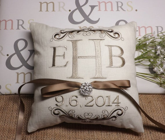 Monogram Wedding Ring Bearer Pillow: Ring Bearer Pillow Monogram Ring Bearer Pillow Ring Pillow