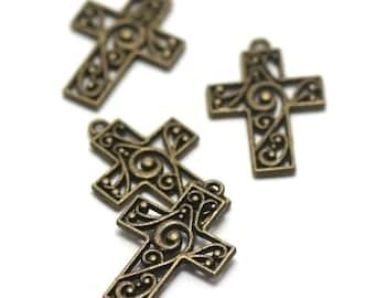 "10 charms ""cross watermark"" 30 x 20 mm, bronze"