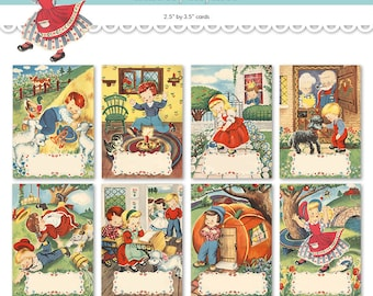 "Nursery rhyme ATC ACEO cards / printable cards / Mother Goose digital collage sheet / 2.5"" by 3.5"" / digital clipart / note cards / tags"