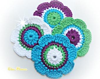 Crochet Flowers ref: X159(4 flowers)
