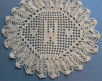 "Custom Crocheted Initial Doilies ""W"""