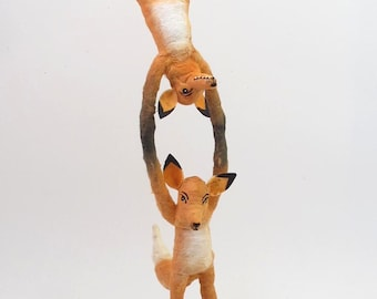 Spun Cotton Vintage Style Woodland Circus Acrobat Foxes Figure (MADE TO ORDER)