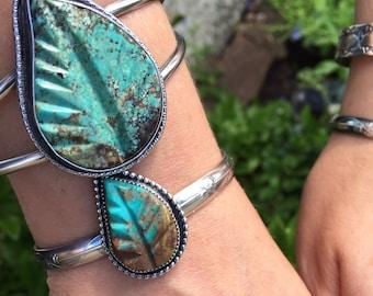 Large Turquoise Bracelet, Carved Leaf Bracelet, Southwestern Silver Bracelet, Boho Jewelry,