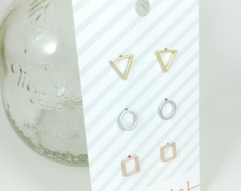 be yourself: modern shapes earring set; unique, simple, everyday gift for her, 3 pairs