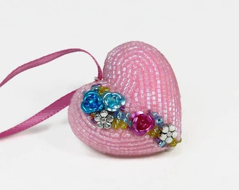 Heart Ornament Valentine's Day Gift Beaded Pink Floral Hostess Housewarming Gift *READY TO SHIP