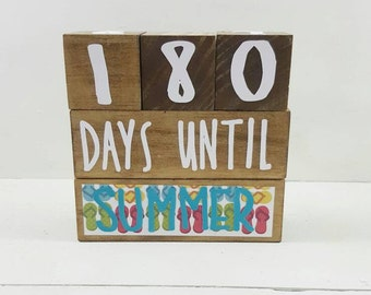 Countdown Blocks - Teacher Gift - Teacher Appreciation - Gift For Teacher - Gift For Student - Countdown To Summer - Wooden Blocks