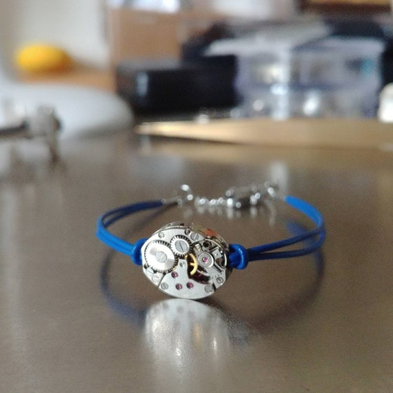 Women blue leather with a mechanical watch movement silver bracelet