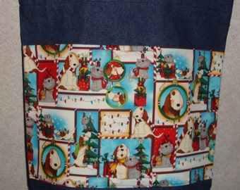 New Large Handmade Christmas Holiday Whimisical Dogs & Cats Pets Denim Tote Bag