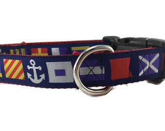 Dog Collar, Nautical Flags, 1 inch wide, adjustable, quick release, metal buckle, chain, martingale, hybrid, nylon