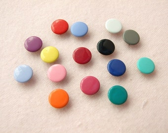 50 sets, Mixed Colors (15 colors) Capped Prong Snap Button, Size 18L (11.3 mm)